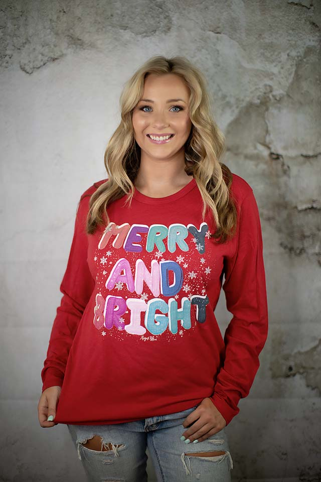 Merry and Bright Red Long Sleeve
