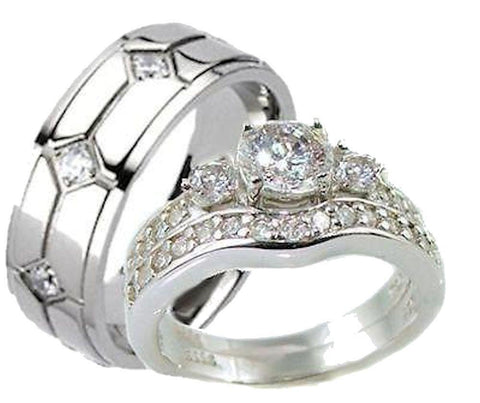 His & Hers 3 Piece Vintage Style Wedding Ring Set Sterling Silver & Titanium - Edwin Earls Jewelry