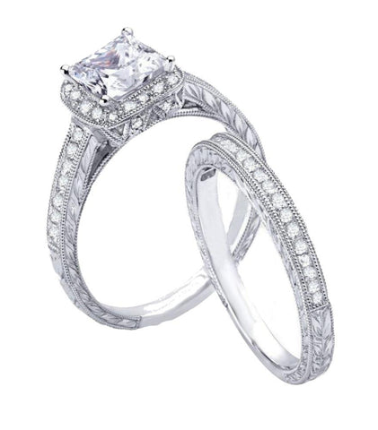 2.50ct Vintage Style Simulated Diamond Engagement Ring Set - Edwin Earls Jewelry