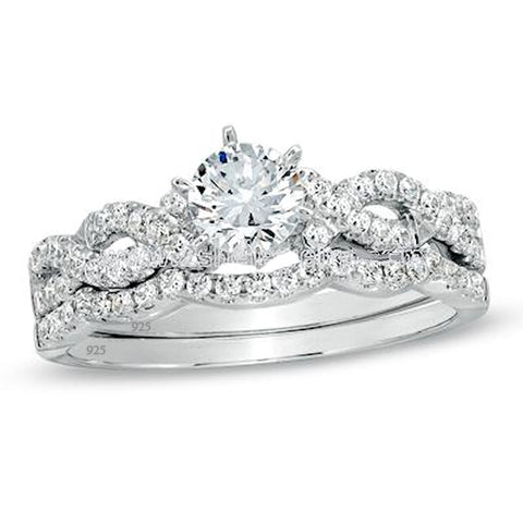 Women's 1.50 Ct Round Cut Cz Infinity Wedding Ring Set 925 Sterling Silver - Edwin Earls Jewelry