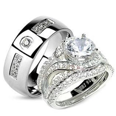 His Her 3.25ct Sterling Silver Halo Wedding Ring Set Men's Stainless Steel