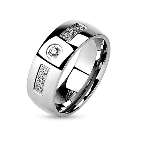 Men's Stainless Steel Cz Wedding Ring Band - Edwin Earls Jewelry
