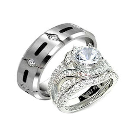 His Her 3.25ct Sterling Silver Halo Wedding Ring Set Men's Titanium Ring