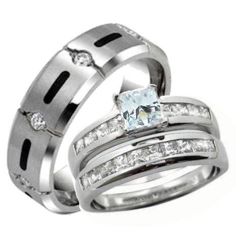 Great His Hers Wedding Ring Set Sterling Silver U0026 Titanium Wedding Rings