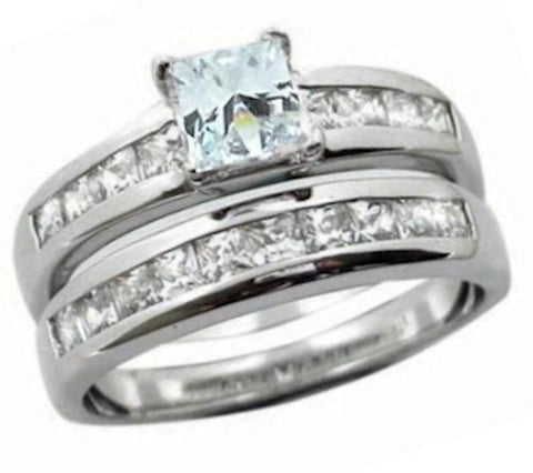 Women's 2 Piece Princess Cut Wedding Ring Set Sterling Silver - Edwin Earls Jewelry