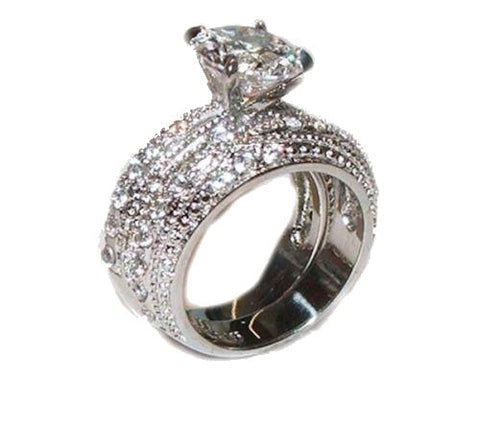 320 Ct Cubic Zirconia Cz Wedding Band Ring Set Stainless Steel