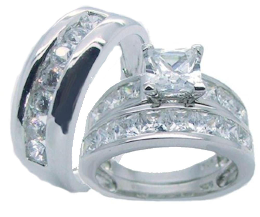 His Hers Sterling Silver Princess Cut Cz Wedding Ring Set Edwin