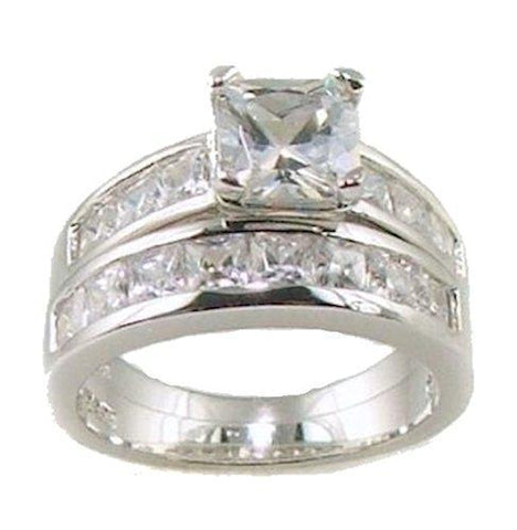 2.25ct Princess Cut Cz Engagement Ring Set Sterling Silver 5,6,7,8,9,10,11
