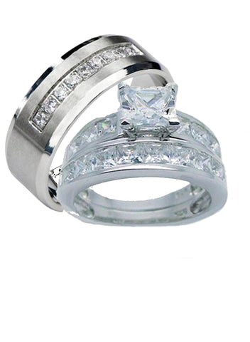 His Hers Couples 2.25ct Princess Cut Cz Wedding Ring Set Her Sterling Silver His Stainless Steel