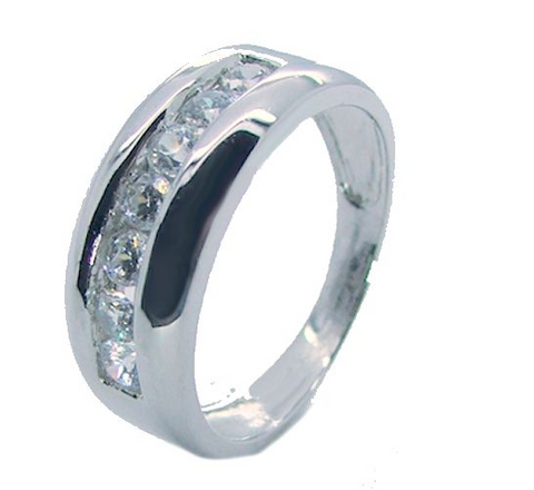 Men's Round Cut Cz Sterling Silver Wedding Ring Band