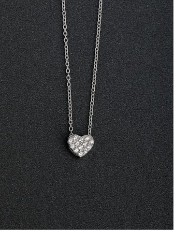 Micro Pave' Petite Cz Heart Necklace in Sterling Silver Platinum Plated