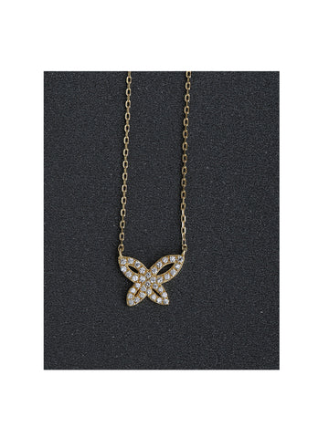 Danity18kt Yellow Gold Micro Pave' Cz Butterfly Necklace in Sterling Silver