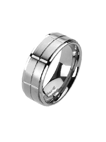 Men Women Couples Cubic Zirconia Solid Titanium Wedding Ring Band