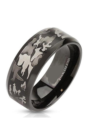 Men's Black Stainless Steel Camo Wedding Ring - Edwin Earls Jewelry