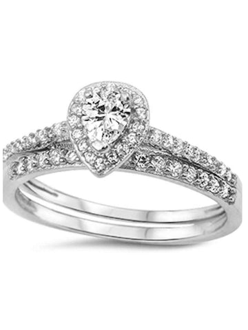Women's 2 Piece Halo Diamond Cz Wedding Ring Set Sterling Silver
