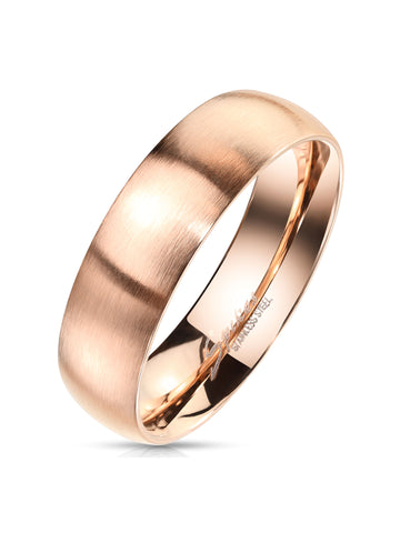 Men's Matte Finish Classic Dome Rose Gold  Stainless Steel Wedding Band Ring