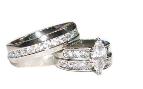His Hers 3 Piece Marquise Cut Cz  Wedding Engagement Ring Set Stainless Steel - Edwin Earls Jewelry
