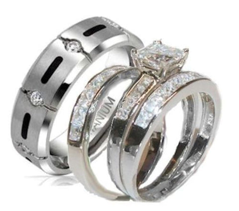 His & Hers 4 Piece Princess Cz Wedding Band Ring Set Sterling Silver & Titanium - Edwin Earls Jewelry