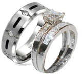 His & Hers 3 Piece Princess Cz Wedding Band Ring Set Sterling Silver & Titanium