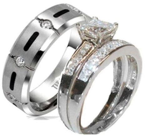 His & Hers 3 Piece Princess Cz Wedding Band Ring Set Sterling Silver & Titanium - Edwin Earls Jewelry