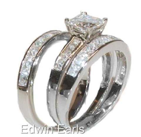 3ct Princess Cut Cz Engagement Wedding Ring Set Sterling Silver 3 Piece Set - Edwin Earls Jewelry
