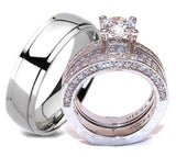 His & Hers Wedding Ring Set Stainless Steel & Titanium Wedding Ring Set - Edwin Earls Jewelry