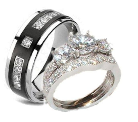 His Hers Cz Wedding Ring Set Sterling Silver Titanium Unique Set