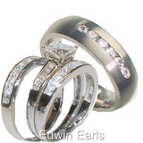 His & Hers 4 Piece Princess Cz Wedding Band Ring Set  Sterling Silver & Titanium