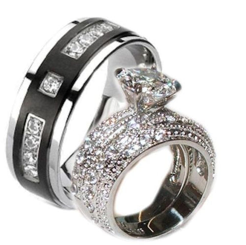 His Hers 3.20 Ct Cz Wedding Ring Set Stainless Steel & Black Plated Titanium