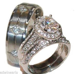 His & Hers 3 Piece Halo Cz Wedding Band Ring Set Stainless Steel & Titanium - Edwin Earls Jewelry