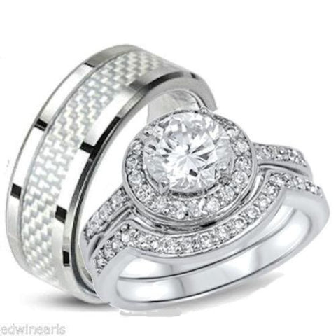 His & Hers 3 Piece Halo Cz Wedding Band Ring Set Sterling Silver & Stainless - Edwin Earls Jewelry