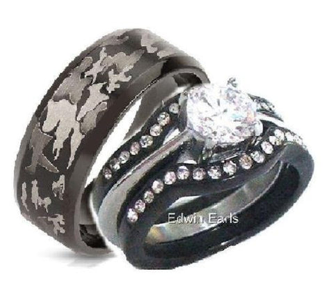 His & Hers 4 Piece Cz Black Stainless Steel Black Camouflage Wedding Rings Set
