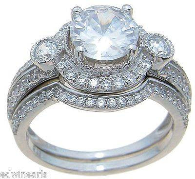 Top Quality 3.50ct Halo Cubic Zirconia Matching Wedding Band Ring Set - Edwin Earls Jewelry