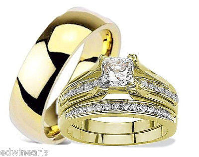 His Hers Cubic Zirconia Yellow Gold Ip Stainless Steel Titanium Wedding Ring Set