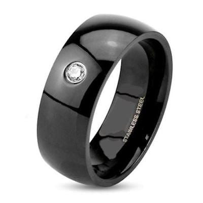 Men's Black Stainless Steel Wedding Band Ring - Edwin Earls Jewelry
