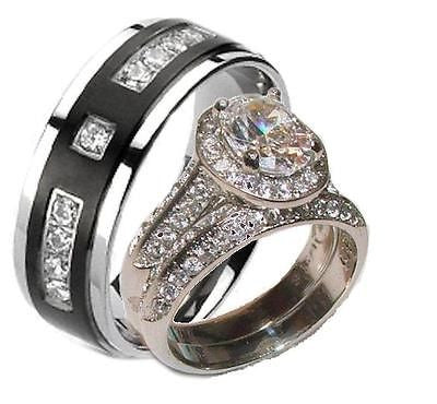 His Hers Halo Cz Wedding Ring Set Stainless Steel & Black Plated Titanium