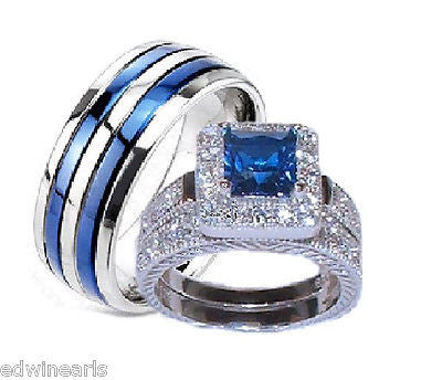His & Hers Sapphire Blue & Clear Cz Wedding Ring Set Sterling Silver/Titanium