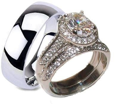 His Hers Halo Cz Wedding Ring Set Stainless Steel & Titanium Rings - Edwin Earls Jewelry