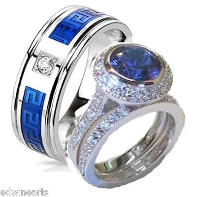 His & Hers Cz  Wedding Ring Set  Sterling Silver & Stainless Steel Wedding Rings - Edwin Earls Jewelry