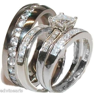 His & Her 4 Piece Wedding Ring Set 925 Sterling Silver & Stainless Steel