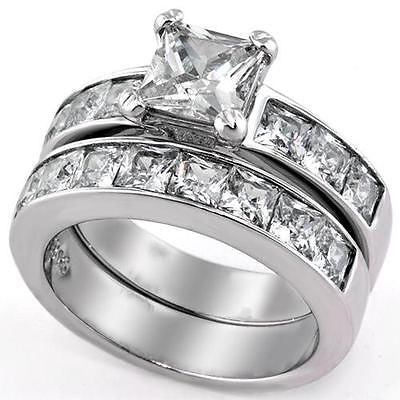 3.75 Ct Princess Cut AAA CZ Stainless Steel Wedding Ring Set Women's Size 5-11 - Edwin Earls Jewelry