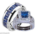 His & Hers Sapphire Blue & Clear Cz Wedding Ring Set Sterling &Titanium