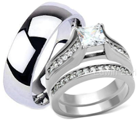 His Hers Stainless Steel Mens Titanium Wedding Ring Set - Edwin Earls Jewelry