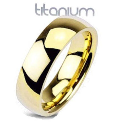 Men's Yellow Gold Ion Plated Titanium Wedding Ring Band
