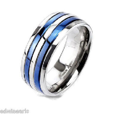 Men's Blue Bands Stainless Steel Cz Wedding Band - Edwin Earls Jewelry