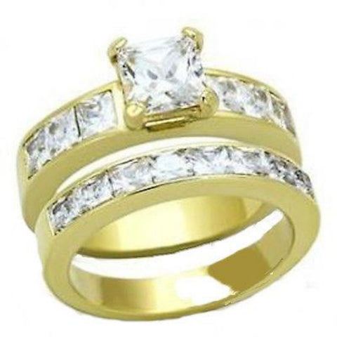 2 Piece Cz Wedding Engagement Ring Set Yellow Gold Plated Stainless Steel - Edwin Earls Jewelry