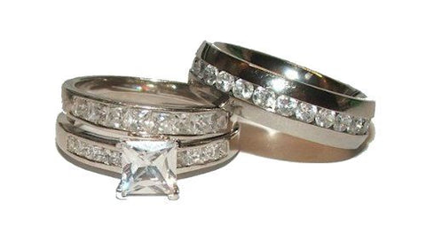 His Her Wedding Ring Set Women's Sterling Silver Men's Stainless Steel - Edwin Earls Jewelry