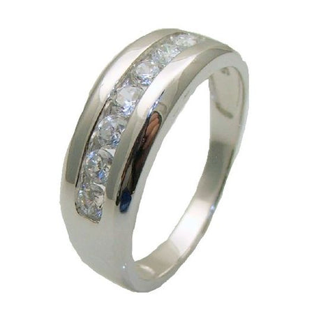1.50 Ct Round Cut Cz Men's Wedding Band Sterling Silver - Edwin Earls Jewelry