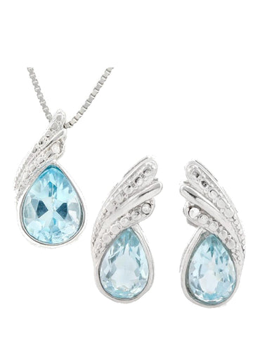 2 .25ct Swiss Blue Topaz & Diamond Accents 925 Sterling Silver Set