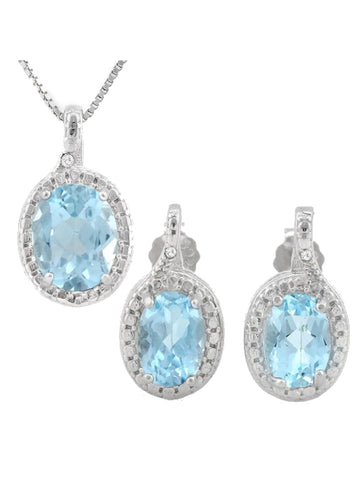 2 .33ct Swiss Blue Topaz & Diamond Accents 925 Sterling Silver Jewelry Set